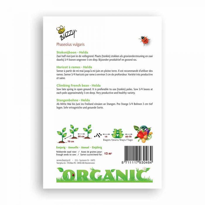Buzzy® Organic Climbing French Bean Seeds - Helda