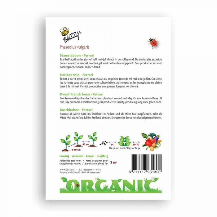 Buzzy® Organic Dwarf French Bean Seeds - Ferrari