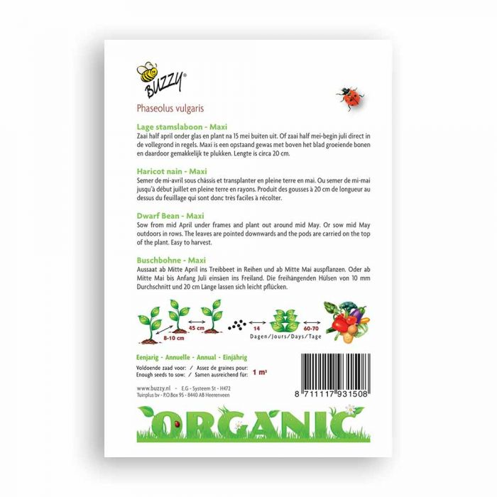 Buzzy® Organic Dwarf Beans - Maxi