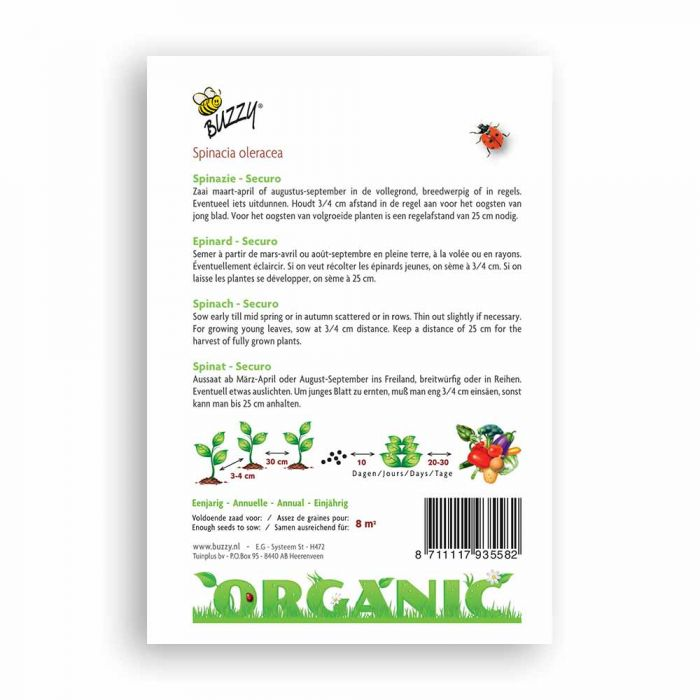 Buzzy® Organic Spinach seeds - Securo