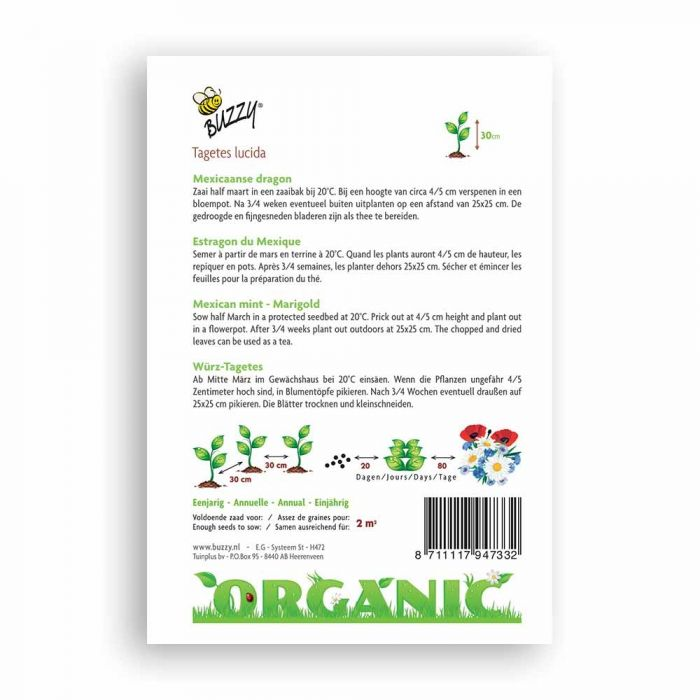 Buzzy® Organic Mexican Mint Seeds - Marigold