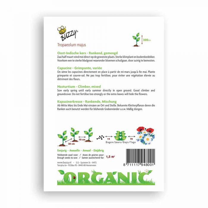 Buzzy® Organic Nasturtium - Single Flower seed Mix