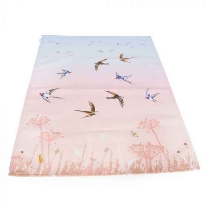 Roy Kirkham Swallow Tea Towel (Pink & Blue)