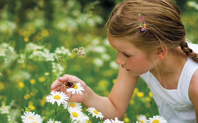 A young girl looking at a butterfly on a flower
